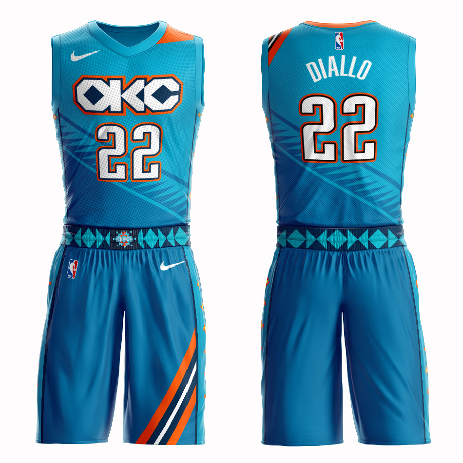 Customized Men Oklahoma City Thunder 22 Diallo blue NBA Nike jersey