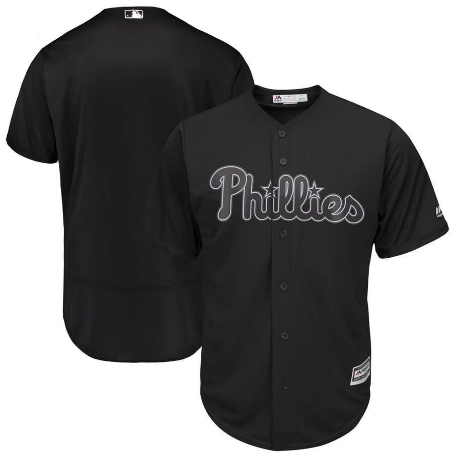Customized Men Philadelphia Phillies black Blank MLB Jerseys