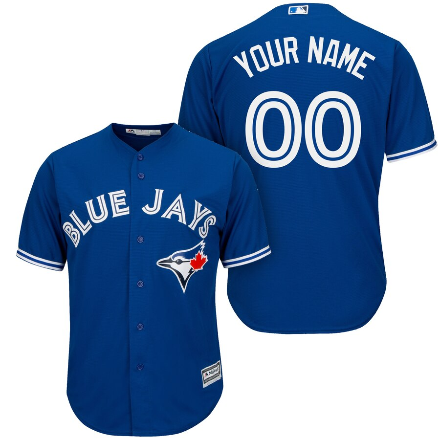 Men Majestic Toronto Blue Jays Royal Cool Base Custom Jersey