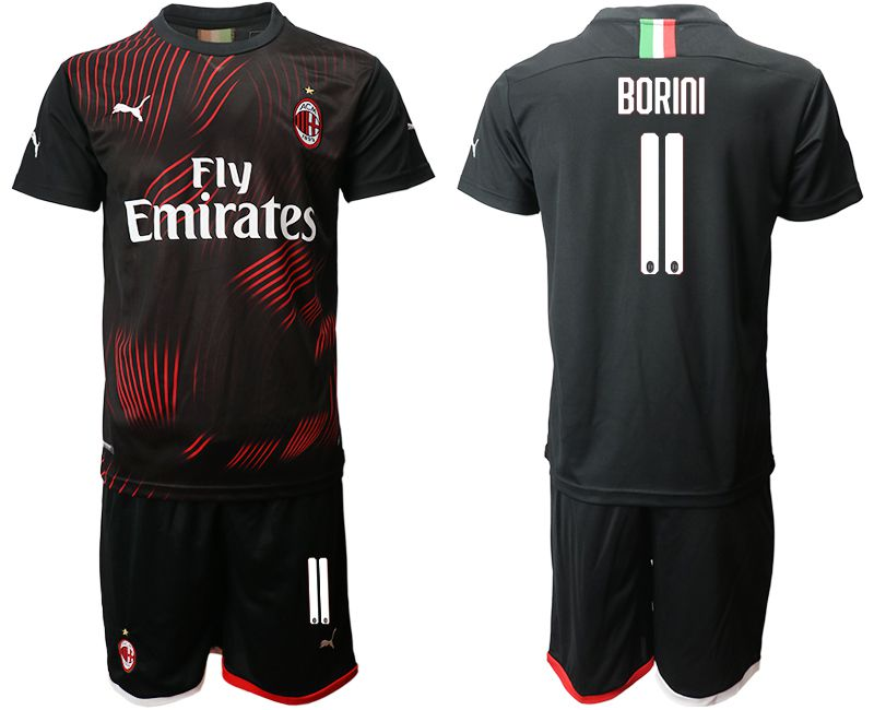 Men 2019-2020 club AC milan away 11 black Soccer Jerseys