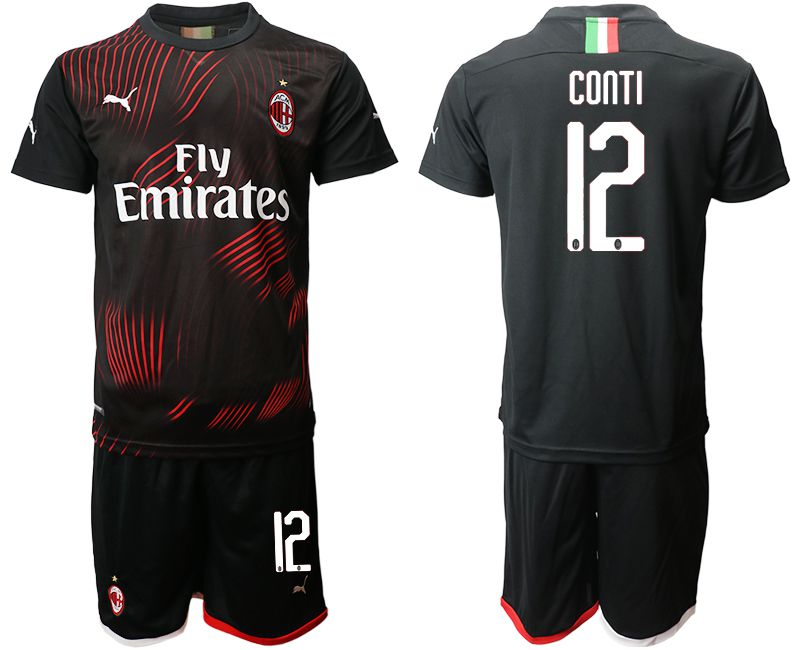 Men 2019-2020 club AC milan away 12 black Soccer Jerseys