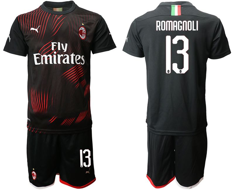 Men 2019-2020 club AC milan away 13 black Soccer Jerseys
