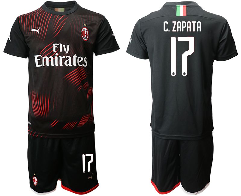 Men 2019-2020 club AC milan away 17 black Soccer Jerseys