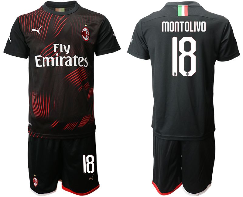 Men 2019-2020 club AC milan away 18 black Soccer Jerseys
