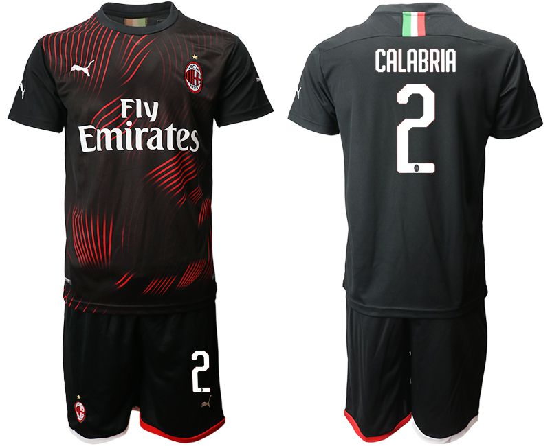 Men 2019-2020 club AC milan away 2 black Soccer Jerseys