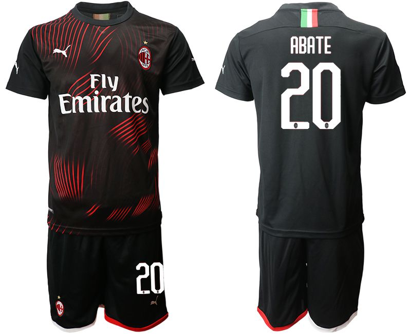 Men 2019-2020 club AC milan away 20 black Soccer Jerseys