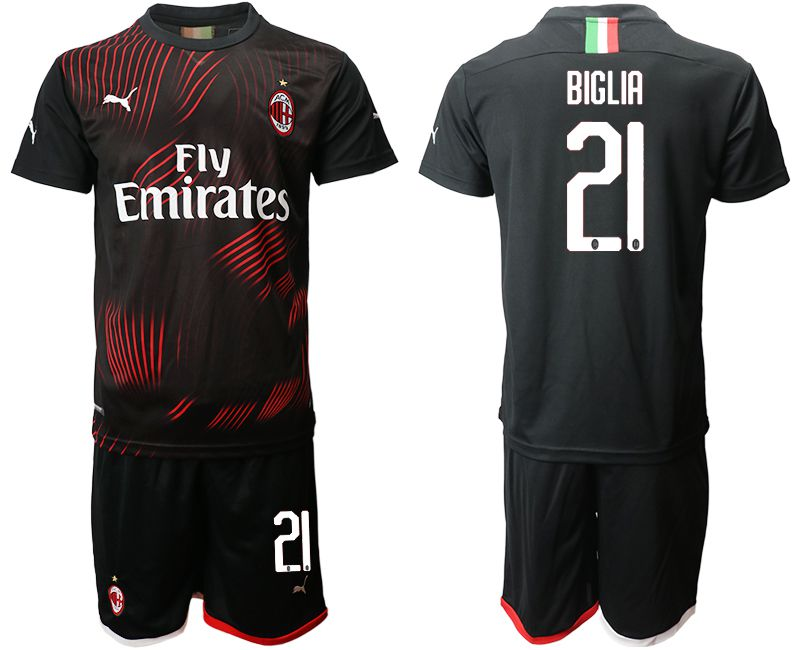 Men 2019-2020 club AC milan away 21 black Soccer Jerseys