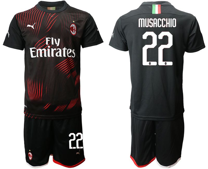Men 2019-2020 club AC milan away 22 black Soccer Jerseys