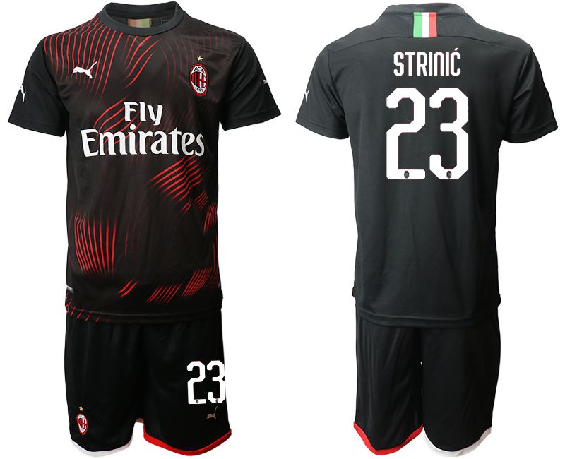 Men 2019-2020 club AC milan away 23 black Soccer Jerseys