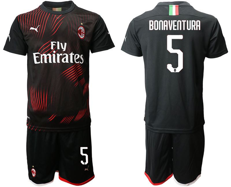 Men 2019-2020 club AC milan away 5 black Soccer Jerseys