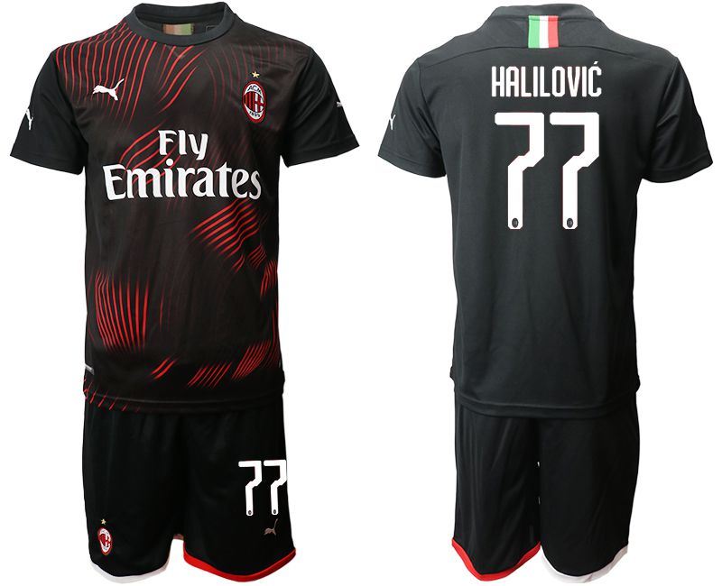 Men 2019-2020 club AC milan away 77 black Soccer Jerseys