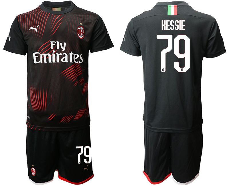 Men 2019-2020 club AC milan away 79 black Soccer Jerseys