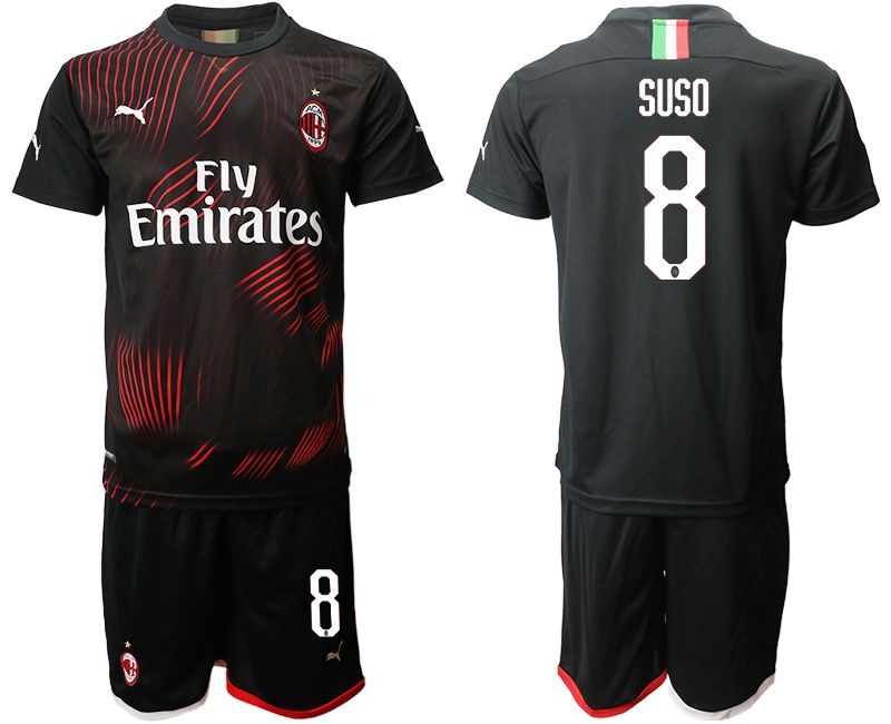 Men 2019-2020 club AC milan away 8 black Soccer Jerseys