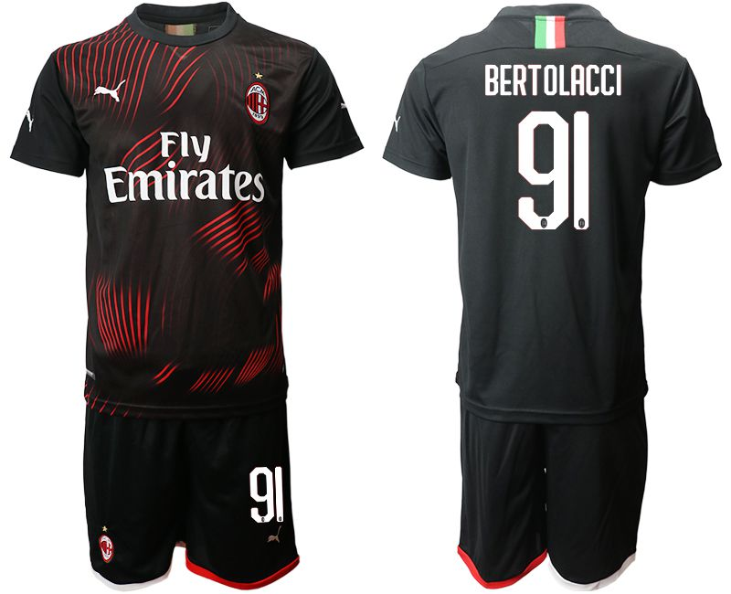 Men 2019-2020 club AC milan away 91 black Soccer Jerseys