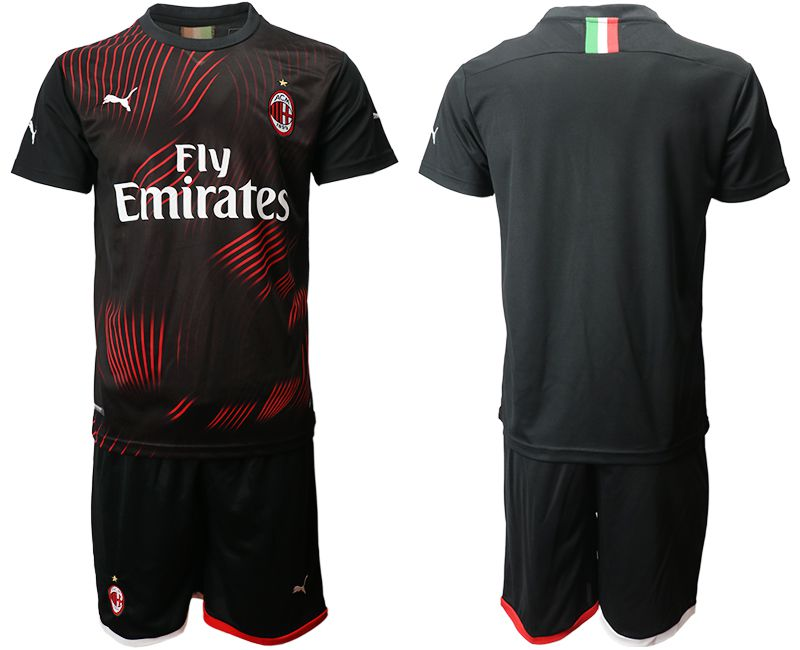 Men 2019-2020 club AC milan away black Soccer Jerseys