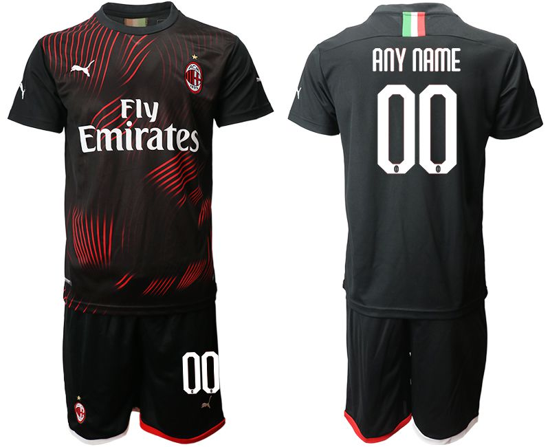 Men 2019-2020 club AC milan away customized black Soccer Jerseys