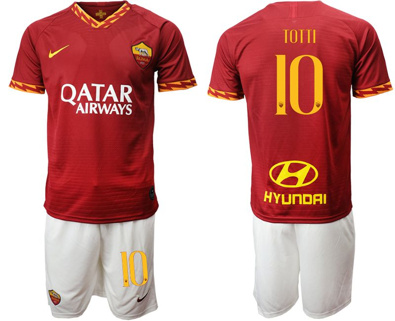Men 2019-2020 club AS Roma home 10 red Soccer Jerseys