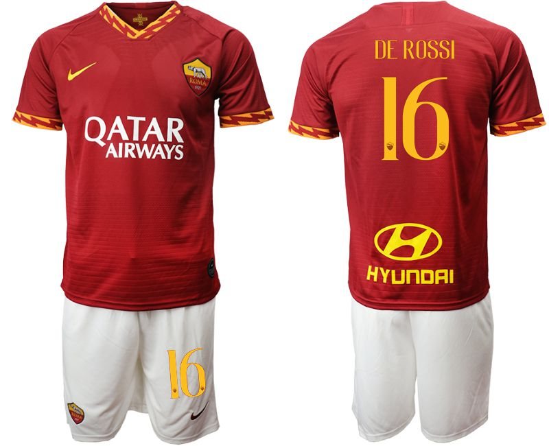 Men 2019-2020 club AS Roma home 16 red Soccer Jerseys
