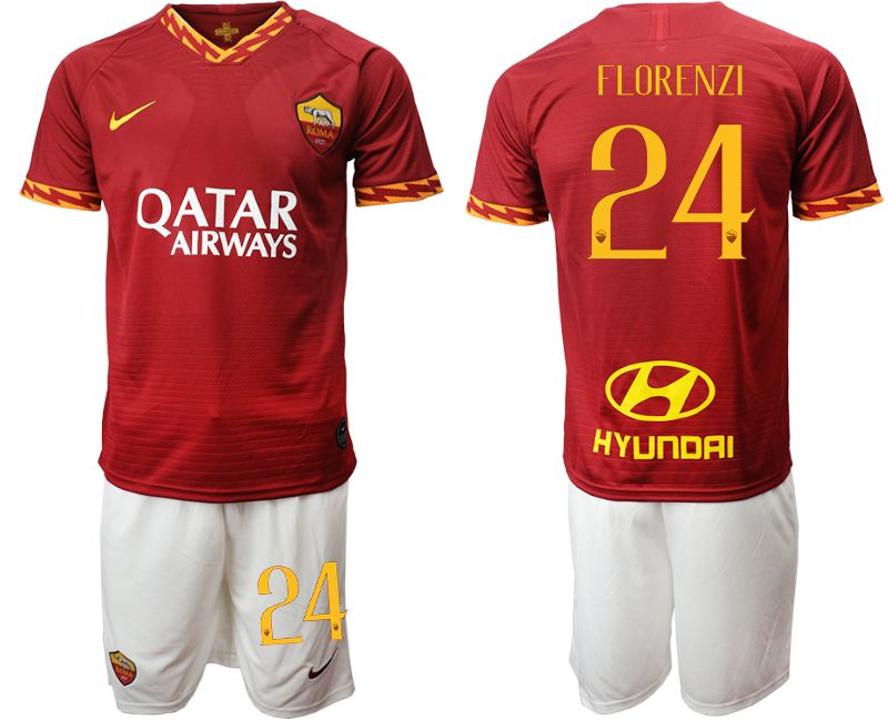 Men 2019-2020 club AS Roma home 24 red Soccer Jerseys