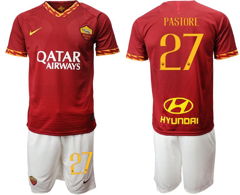 Men 2019-2020 club AS Roma home 27 red Soccer Jerseys
