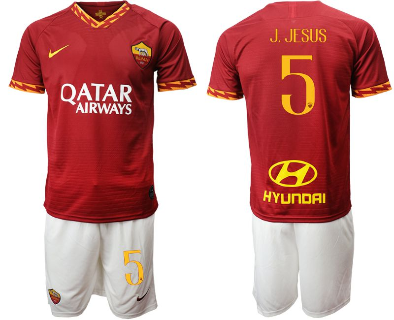 Men 2019-2020 club AS Roma home 5 red Soccer Jerseys
