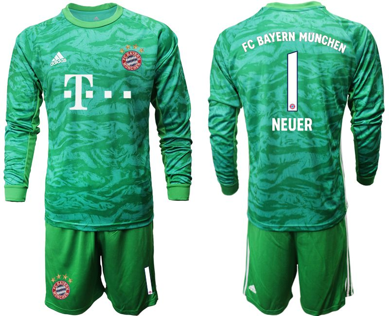 Men 2019-2020 club Bayern Munich green goalkeeper long sleeve 1 Soccer Jerseys