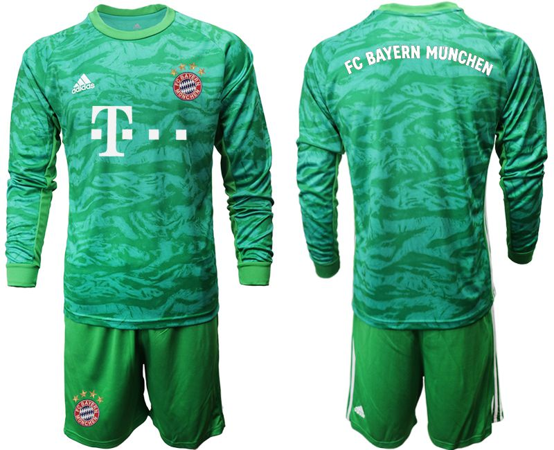Men 2019-2020 club Bayern Munich green goalkeeper long sleeve Soccer Jerseys