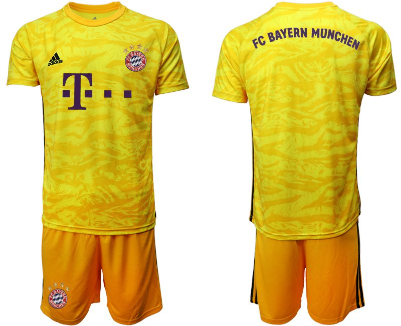 Men 2019-2020 club Bayern Munich yellow goalkeeper Soccer Jerseys