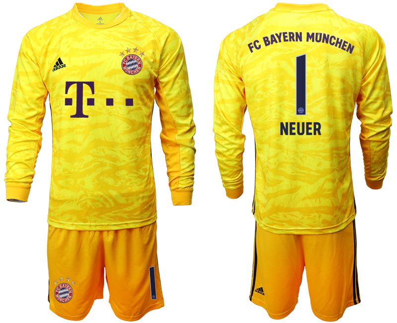 Men 2019-2020 club Bayern Munich yellow goalkeeper long sleeve 1 Soccer Jerseys