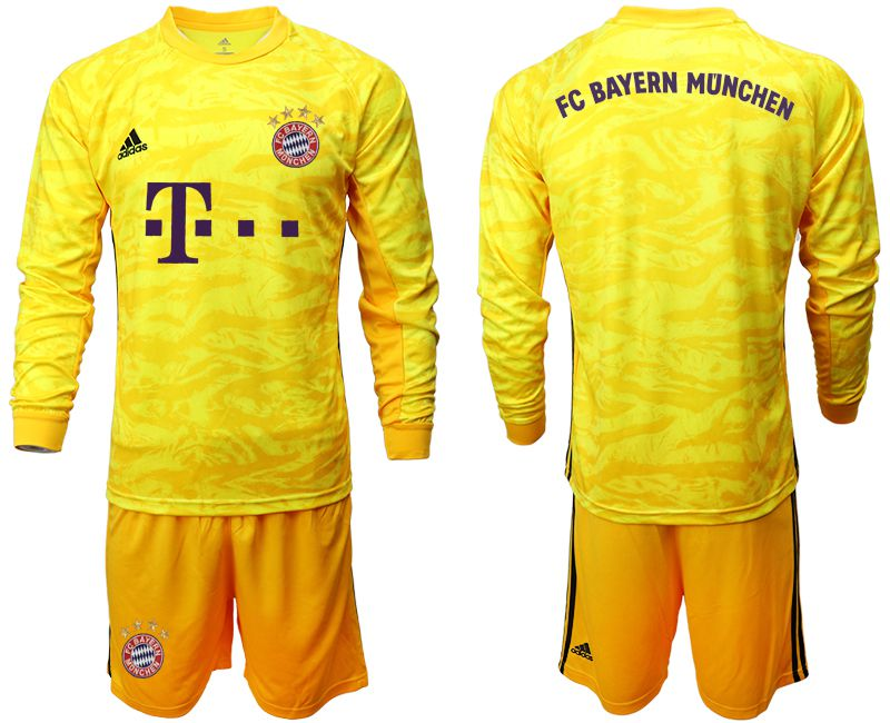 Men 2019-2020 club Bayern Munich yellow goalkeeper long sleeve Soccer Jerseys