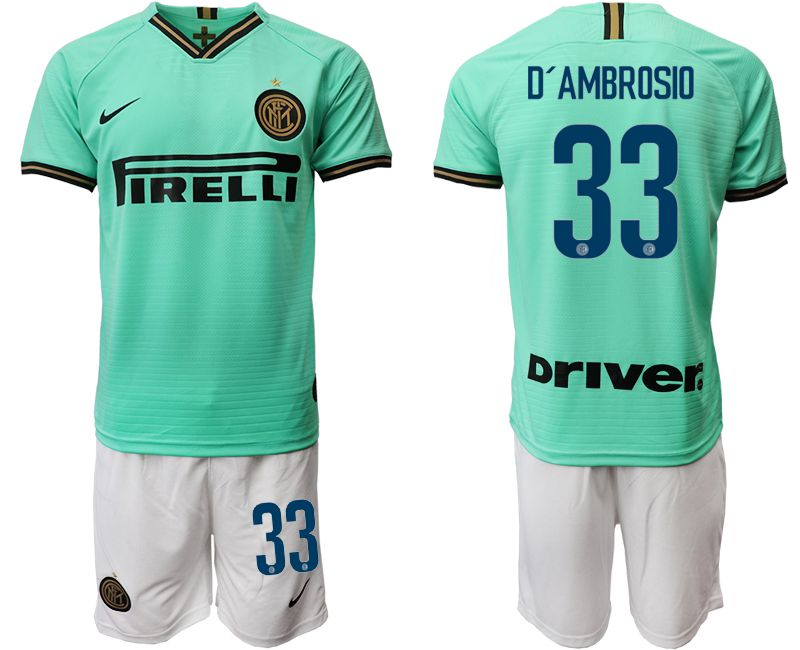 Men 2019-2020 club Inter Milan away 33 green Soccer Jerseys
