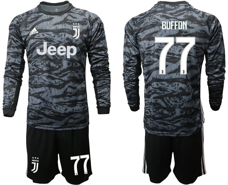 Men 2019-2020 club Juventus black long sleeve goalkeeper 77 Soccer Jerseys
