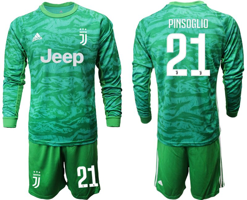 Men 2019-2020 club Juventus green goalkeeper long sleeve 21 Soccer Jerseys