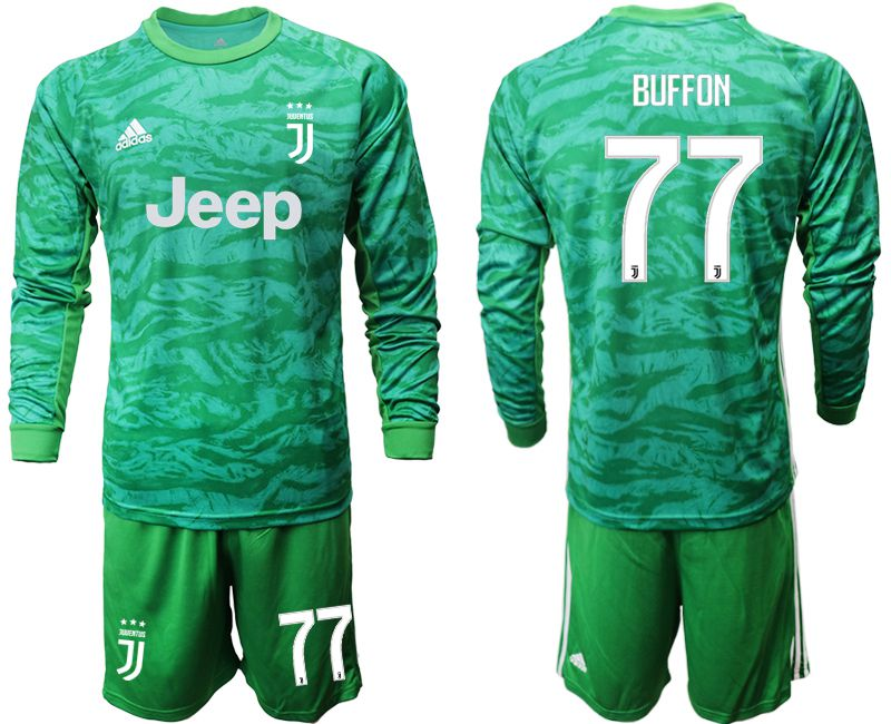 Men 2019-2020 club Juventus green goalkeeper long sleeve 77 Soccer Jerseys
