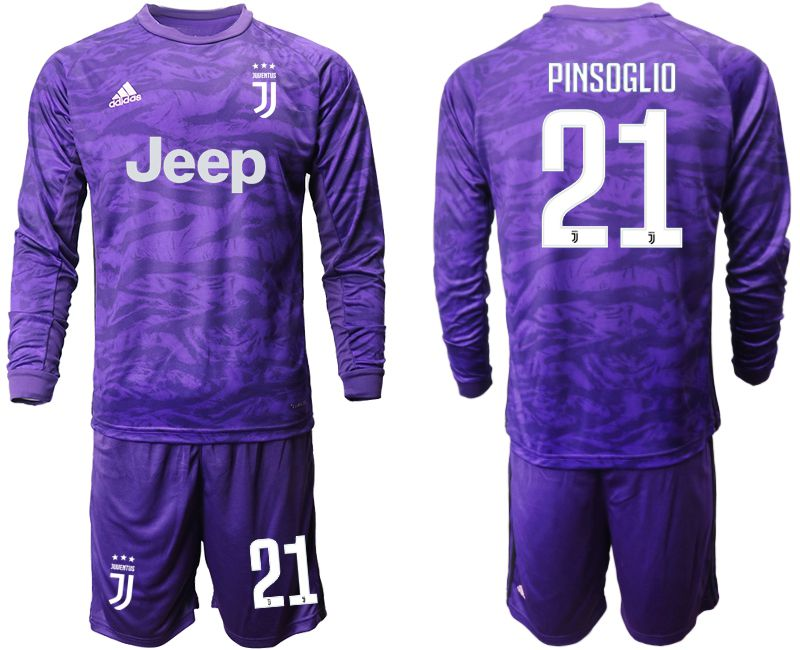 Men 2019-2020 club Juventus purple long sleeved Goalkeeper 21 Soccer Jerseys