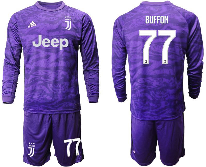 Men 2019-2020 club Juventus purple long sleeved Goalkeeper 77 Soccer Jerseys