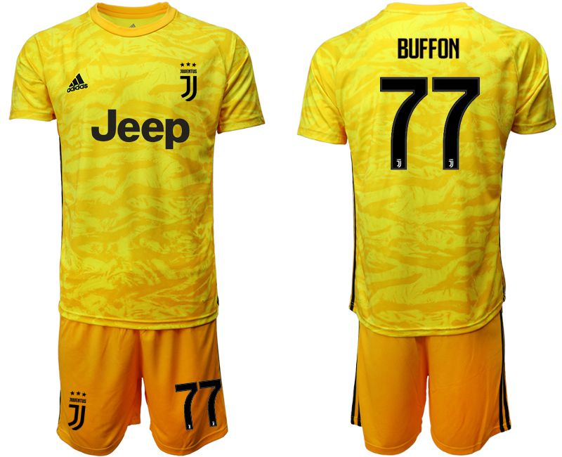 Men 2019-2020 club Juventus yellow goalkeeper 77 Soccer Jerseys