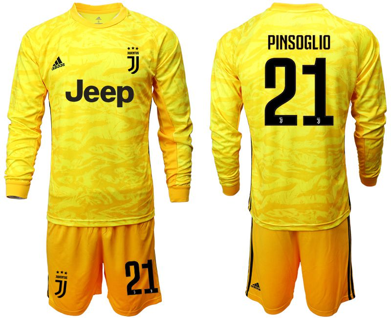 Men 2019-2020 club Juventus yellow goalkeeper long sleeve 21 Soccer Jerseys