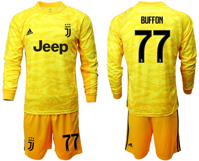 Men 2019-2020 club Juventus yellow goalkeeper long sleeve 77 Soccer Jerseys