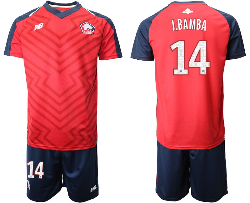 Men 2019-2020 club Lille OSC home 14 red Soccer Jerseys