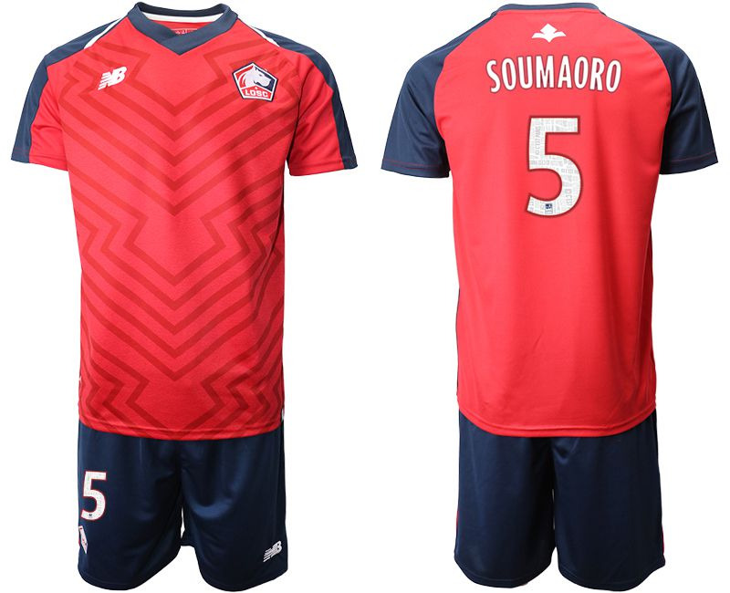 Men 2019-2020 club Lille OSC home 5 red Soccer Jerseys