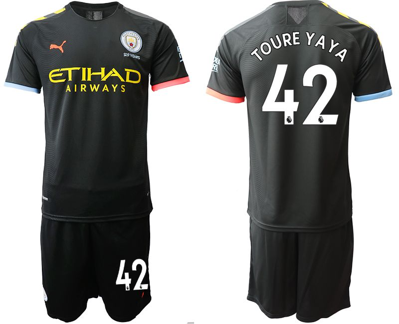Men 2019-2020 club Manchester City away 42 black Soccer Jerseys