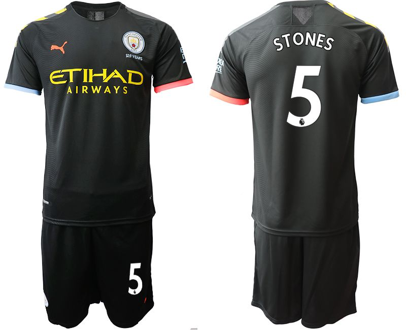 Men 2019-2020 club Manchester City away 5 black Soccer Jerseys