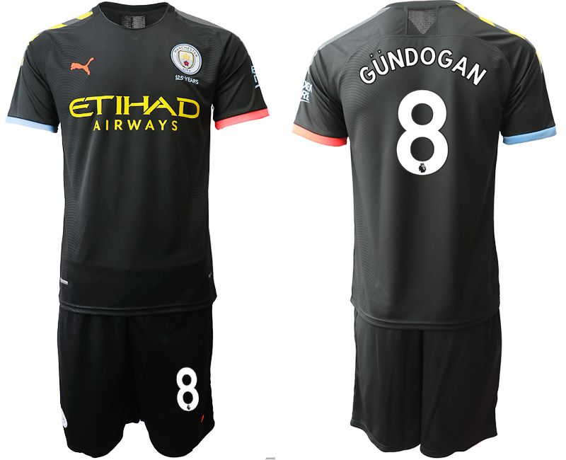 Men 2019-2020 club Manchester City away 8 black Soccer Jerseys
