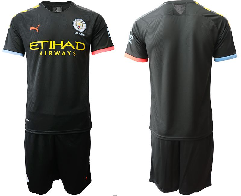 Men 2019-2020 club Manchester City away black Soccer Jerseys