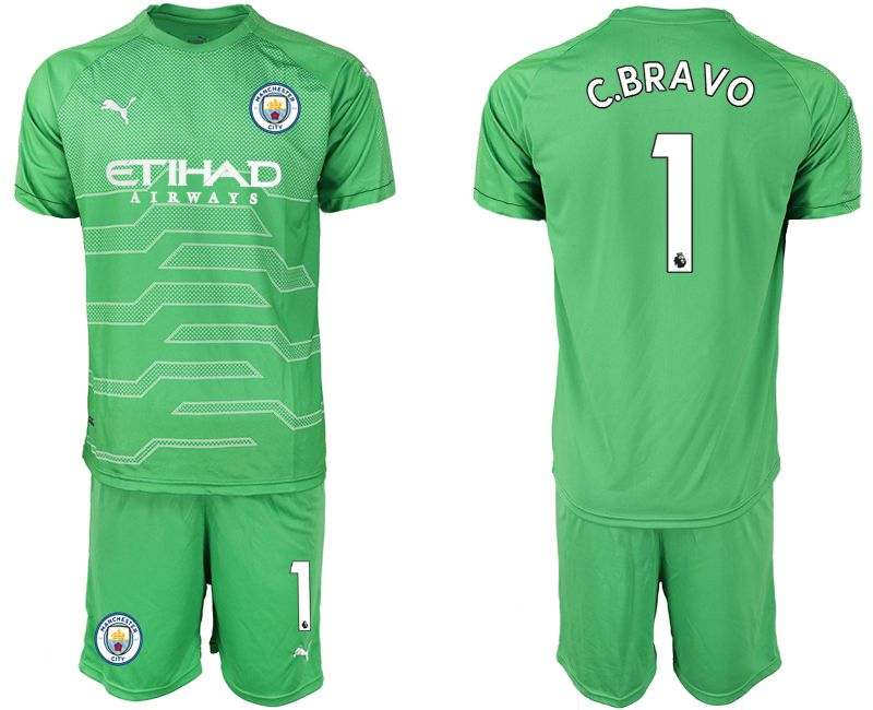 Men 2019-2020 club Manchester City green goalkeeper 1 Soccer Jerseys