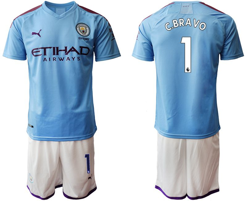 Men 2019-2020 club Manchester City home 1 blue Soccer Jerseys1