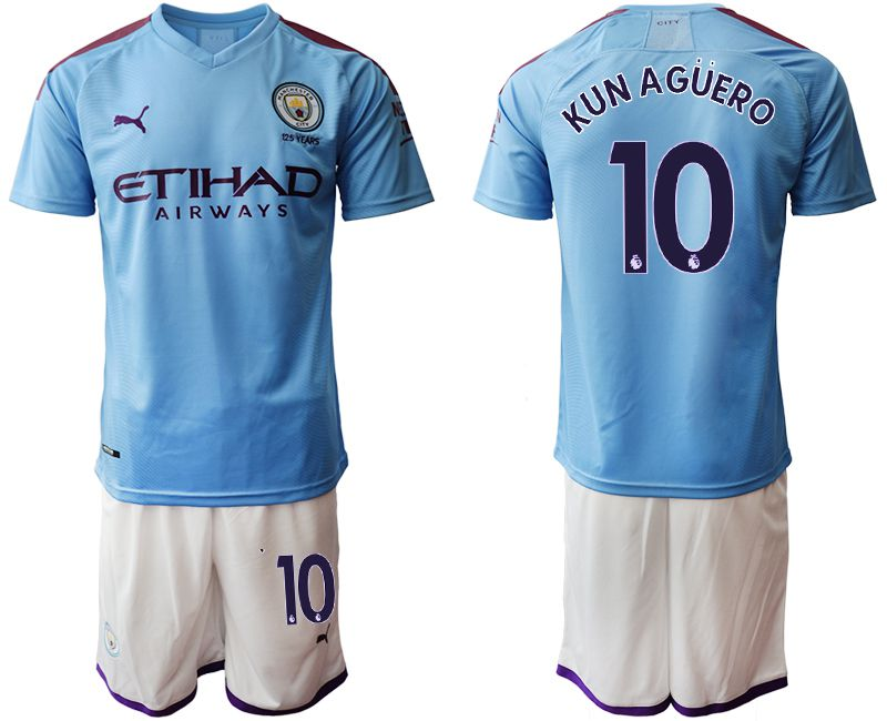 Men 2019-2020 club Manchester City home 10 blue Soccer Jerseys
