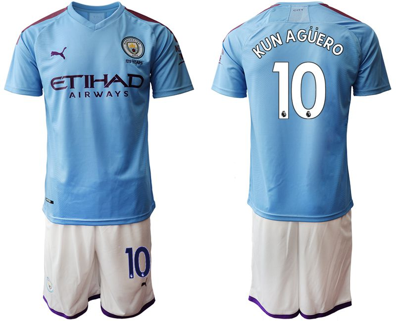 Men 2019-2020 club Manchester City home 10 blue Soccer Jerseys1