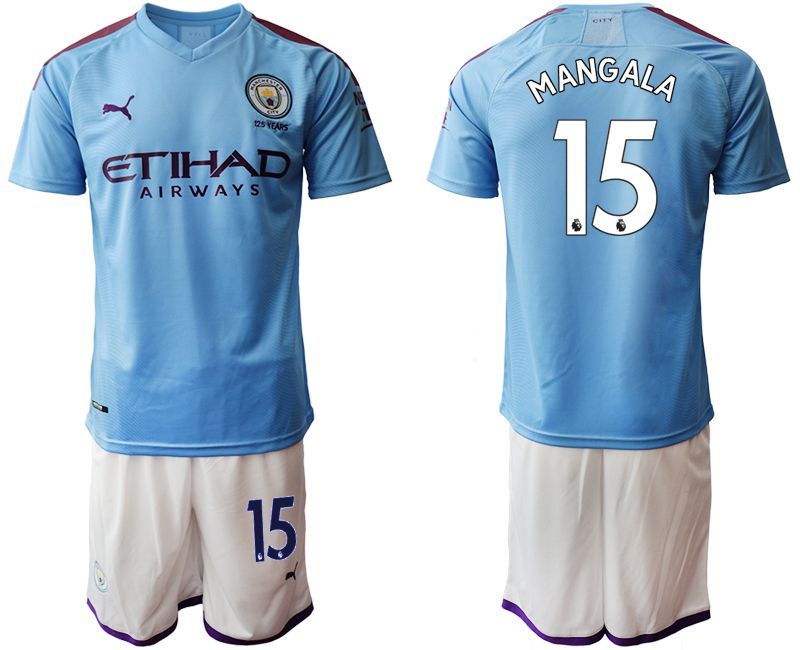 Men 2019-2020 club Manchester City home 15 blue Soccer Jerseys1
